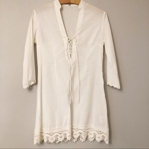 Lucy & Co. White Lace Up Tunic